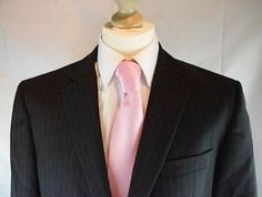 Mens Jasper Conran Black and Gold Stripe  Merino Wool  Suit 42 R