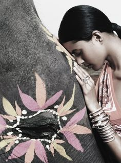Lakshmi Menon by Thierry Les Goues for Hermes Spring/Summer 2008 (Ad Campaign) Namaste, Lakshmi Menon, Beauty Science, Deep Winter, India Art, Elephant Love, Tumblr, Exotic Beauties, Everything Is Awesome