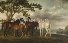 """Mares and Foals in a River Landscape"" by George Stubbs - Hand Painted Reproduction"