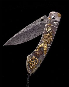 Damascus pocket knife with yellow and green gold, and copper inlays on hand carved stainless handle. Diamonds on the button lock and thumb stud. One of a kind. Damascus Pocket Knife, Damascus Blade, Damascus Knife, Damascus Steel, Cool Knives, Knives And Tools, Knives And Swords, Engraved Knife, Engraved Pocket Knives
