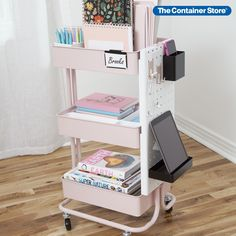 Whenever you need a little extra storage, our metal 3-Tier Rolling Cart is ready to roll. Its slender dimensions make it easy to slide into a home office, pantry, laundry room or bath. Three tiers give you room to organize. Mesh bottoms provide ventilation. Whether you're sorting toys, craft supplies, towels, hair accessories, nursery supplies or makeup, this sleek rolling cart makes the most of tight spaces. Nursery Supplies, Craft Supplies, Diy Rangement, Vsco, Drawer Dividers, Home Learning, Container Store, Room Organization, Scrapbook Organization