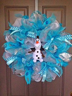 Olaf Frozen Inspired Deco Mesh Wreath by BeautifulMesh on Etsy