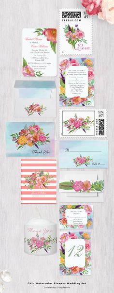 Lovely colorful watercolor floral artwork wedding set, with invitations, thank you cards, postage stamps, guest book, envelope, table number card, RSVP card, and more.Personalize all the products to suit your wedding needs.