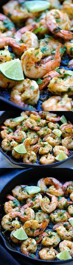 Cilantro Lime Shrimp - best shrimp ever with cilantro, lime & garlic on sizzling skillet. Crazy delicious recipe, takes 15 mins | http://rasamalaysia.com