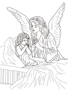 guardian angel prayers with little girl catholic coloring page - Coloring Pages Beautiful Angels