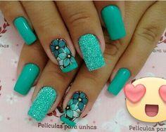 Perfeita Green Nail Designs, Square Nail Designs, Diy Nail Designs, Elegant Nails, Stylish Nails, Leopard Nails, Spring Nail Art, Trendy Nail Art, Hot Nails