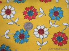 Vintage 1960s Mod Fabric Flower Power 2.7 yards Cotton Twill Yellow Heavy Weight