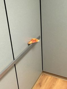 Someone left a slice of pizza in the elevator
