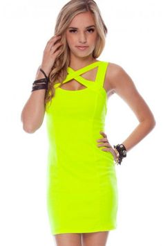 neon colour dress are out this summer. Less accessory with this dress is more