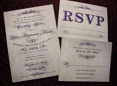 Dark Purple Antique Poster Style Vintage Steampunk Wedding Invitations