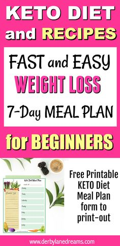 Fast and Easy Weight loss on the KETO Diet, Recipes and Meal Plan in post.  Lots of KETO snacks, breakfast, lunch, and dinner ideas, and a sample 7-Day Meal Plan to help get you started.  Delicious Keto Recipes, PLUS a Free Printable Meal Planner List to take with you to the market.  #keto #diet #plan #mealprep #weightloss #healthy #healthyeating #beginners
