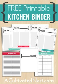 Free printable kitchen binder - a Kitchen Binder will help you keep all your meal planning, shopping lists, recipes in one place! | Kitchen Organization