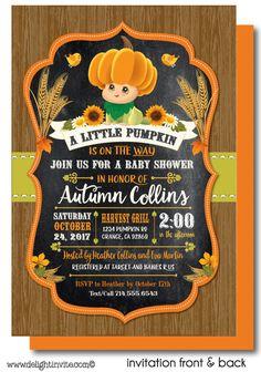 Fall Little Pumpkin Baby Shower Invitations. Fall Harvest baby shower invites, printed Lil' Pumpkin baby shower invitations, Lil'Pumpkin theme shower