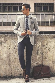"""Gentleman Style 374713631487228741 - thelavishsociety: """"Fancy Friday by WMBW (website) Gentleman Mode, Gentleman Style, Grey Blazer Combinations, Mens Fashion Suits, Mens Suits, Suit Men, Blazer Outfits Men, Herren Outfit, Suit And Tie"""