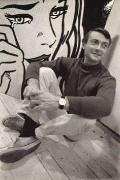Roy Lichtenstein photographed by Dennis Hopper: American pop artist. During 1960s, along w/ Andy Warhol, Jasper Johns, & James Rosenquist among others, became a leading figure in new art movement. Wikipedia