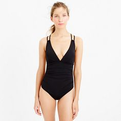 Jersey Lomellina® deep-V ruched one-piece swimsuit : swim | J.Crew