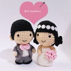 Teeny tiny crochet groom and bride dolls. Amigurumi by elinmakes. (Inspiration).