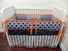 Custom Crib Bedding Set Luke - Navy Chevron and Gray Baby Bedding