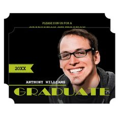 Custom Photo Graduation Party Invitations. Announce your Graduate with these modern and stylish design Custom Photo Graduation Announcements / Graduation Party Invitations. A simple and elegant design that features your graduate's photo on the front with all the party or announcement details on the back. Matching cards, postage stamps and other products available in the Graduation Category of the Mairin Studio store at zazzle.com