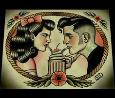 Rockabilly Sweethearts Art Print van ParlorTattooPrints op Etsy