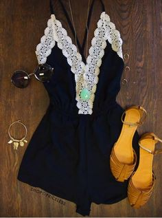 - Details - Size Guide - Model Stats - Contact This romper is the journey of love at its finest! Our Love Quest Lace Romper in black features a lightweight fabric with a crochet lace detailed, deep V-
