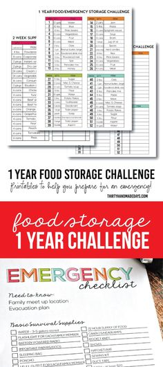 1 Year Food Storage Challenge - get on top of things in case of an emergency with this printable challenge!