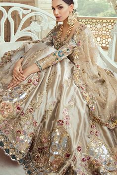 Pakistani Bridal Lehnga Choli in Gold Color with Magnificent Look emblazoned with beautiful embroidery work. Buy Pakistani Lehnga Choli in USA Online. Indian Bridal Fashion, Pakistani Bridal Dresses, Pakistani Outfits, Indian Outfits, Designer Bridal Lehenga, Bridal Lehenga Choli, Indian Designer Outfits, Designer Dresses, Designer Wear
