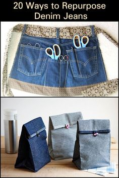 20 creative ideas for converting your old jeans - UPCYCLING IDEAS - 20 creative. - 20 creative ideas for converting your old jeans – UPCYCLING IDEAS – 20 creative ideas for conv - Diy Jeans, Diy With Jeans, Denim Bags From Jeans, Sewing Hacks, Sewing Crafts, Sewing Tips, Sewing Tutorials, Sewing Patterns Free, Free Sewing