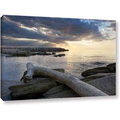 ArtWall Dan Wilson Lake Erie Sunset II  Gallery-Wrapped Canvas, Size: 24 x 36, Orange