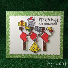 Merry Christmouse fireplace | simon says stamp exclusive lawn fawn set 'christmouse' for STAMPtember. paired it with let's bokeh paper, cozy Christmas set and scalloped rectangles.