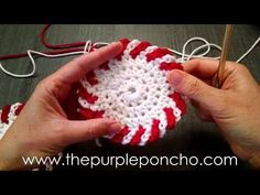 Watch this video tutorial to learn how to crochet an alternating, two color, chain loop edging. This is the edging used for Carolyn's Peppermint Coasters