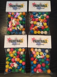 Made these paintball party favors. So cute! #Gumballs #Paintball #favorbags