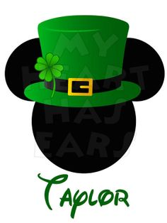 Printable DIY Mickey Mouse in St. Patrick's Day digital clip art, iron on transfer for t-shirts by My Heart Has Ears