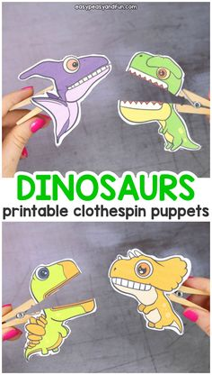 Dinosaurs Clothespin Puppets - Printable Paper Craft - Easy Peasy and Fun
