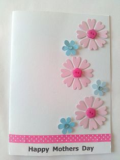 Mothers day card with die cut flowers and buttons by KaisCards, £2.50