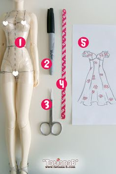 Interesting idea for creating doll clothes.  Lots of photographs and explanation