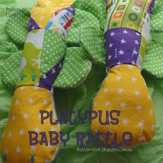 platypus baby rattles patchwork with rattle insert inside