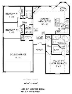 Traditional Style House Plan - 3 Beds 2 Baths 1882 Sq/Ft Plan #424-405 Floor Plan - Main Floor Plan - Houseplans.com