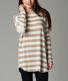 Look at this Taupe & Ivory Bold Stripe Lace-Elbow Tunic on #zulily today!