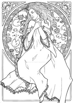 Free coloring page coloring-adult-dessin-inspiration-art-nouveau-2. A beautiful drawing inspired by Art Nouveau, with a woman and flowers