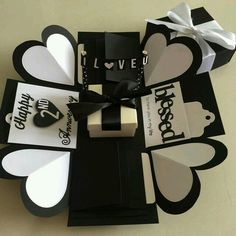 Buy Explosion Box With Gift Box, 8 waterfall in black & white in Singapore,Singapore. ----------- Info ------------- Size: Explosion box card with - 2 layers - a gift box in the center - 2 flaps with 8 waterfall photos - 4 customized pho Chat to Buy Presents For Boyfriend Anniversary, Boyfriend Gifts, Diy Crafts For Gifts, Paper Crafts, Exploding Gift Box, Surprise Box, Surprise Ideas, Diy Gift Box, Birthday Box