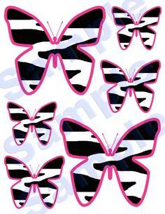 HOT PINK ZEBRA BUTTERFLY TEEN GIRL WALL DECALS NURSERY KIDS ROOM STICKERS DECOR $18.99 #decampstudios