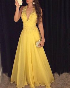 Backless Prom Gown,Open Back Evening Dress,Backless Prom Dress,Evening Gowns,Yellow Formal Dress Beaded Prom Dress, Backless Prom Dresses, Prom Gowns, Dress Prom, Party Dresses, Dresses Dresses, Dresses Online, Long Gowns, Pageant Dresses