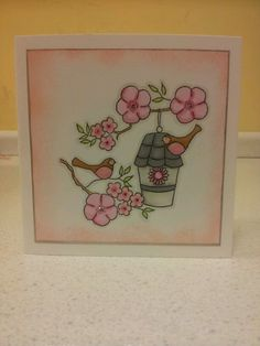 Birdhouse with little claires stamp, made for joanne