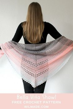 Bella Vita Shawl - a free #crochet #pattern on wilmade.com. Made with a #gradient #plied #yarn cake. #triangle #summer #spring #pink #grey