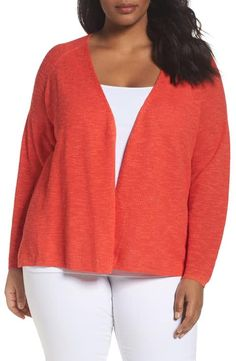 Loving this color called Geranium ->Eileen Fisher Organic Linen & Cotton Cardigan (Plus Size)