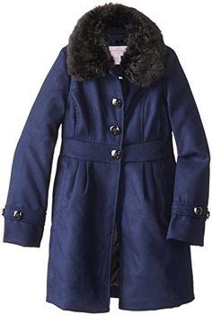9690330b50a8 Jessica Simpson Big Girls Faux Wool Coat with Fur Collar