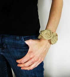 How to make a burlap rosette bracelet!  #tutorial