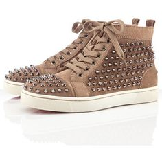 Christian Louboutin Louis Women's Flat Spikes Sneakers Taupe,Red Bottoms