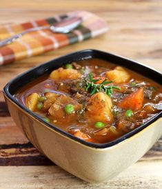 Beefless Stew: This hearty stew has everything you love about beef stew, but without the beef! It has large chunks of potato, carrot, celery, and onion, and portabella mushrooms stand in for the beef. Garlic, paprika, and fresh rosemary provide excellent flavor. Great with creamy mash.